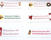 30 Customized Christmas Labels,  Address, Thank You, Gift, Personalized For You, Snowman, Santa, Bird, Wreath, Tree, Reindeer