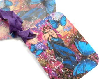 2 Gift Tags, Art Nouveau Lady in Blue Purple, Butterflies, Hang Tags, Merchandise Tags, Handmade Tags