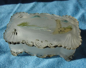 Antique satin glass trinket box with faded paint