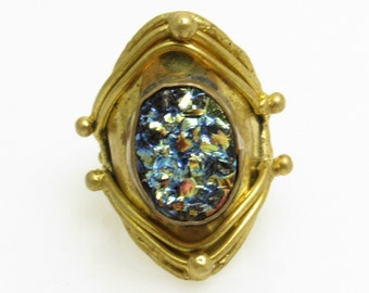 Lava Rock Brass Ring Wide Vintage Ring Artisan Jewelry R7591