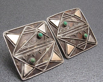 Sterling Turquoise Earrings Geometric Vintage Jewelry E7683