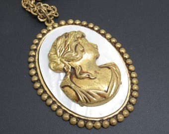 Large Brass Cameo Pendant Necklace Mother of Pearl Jewelry N7723
