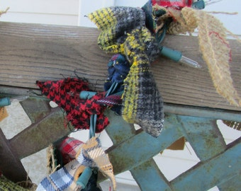 lighted christmas garland with or fabric and burlap 12 feet 50 lights winter plaids flannel