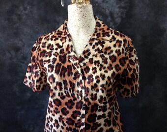 1960's leopard print blouse