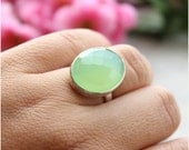 Sea foam green ring - Chalcedony Ring - oval ring - Bezel set ring - Gemstone ring -  Gifts