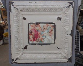 TIN CEILING Creamy White Metal Picture Frame 8x10 Shabby Recycled chic 527-16