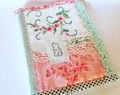 Photo album vintage embroidery hand stamped bunny 24 photos 10x15cm