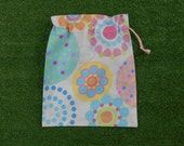 Small drawstring bag, gift bag, dots & spots pastel colours gelato colours bag, small toy bag