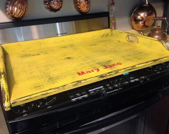 Primitive Stove Top Cover Noodle Board personalized with name up to 10 letters