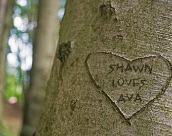 Tree Carving Personalized Name Print