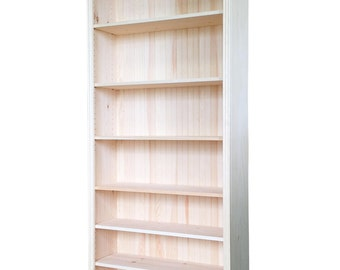 "Solid Pine Bookcase | 30""W x 82""H x 12D 