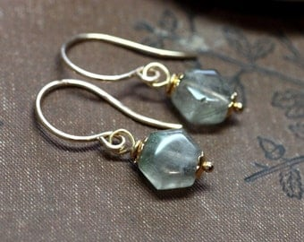 Rutilated Quartz Earrings Gold Earrings Natural Gemstone Earrings Rustic Jewelry