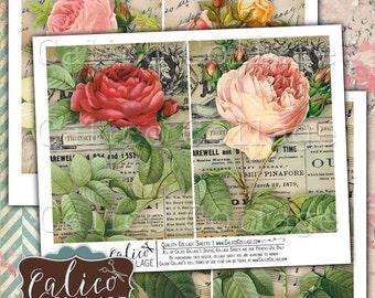 Bella Roses, 5x7 Inches, Junk Journal Pages, Digital Collage, Printable Paper, Vintage Ephemera, Rose Ephemera, Collage Sheet