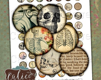Macabre, Collage Sheet, Digital Collage, 20mm Circles, Macabre Ephemera, Halloween, Gothic Images, Instant Download, Printable Circles