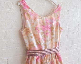 Floral Tea dress { dusty pink } size 12 -