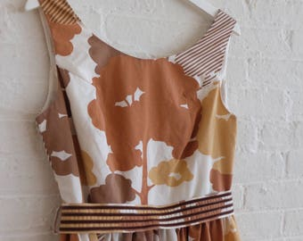 Spring Tea Dress { abstract trees in brown } size 12