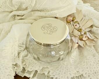 Vintage Classic Elegance..... Monogrammed Sterling Lid Heavy Cut Crystal Powder Jar