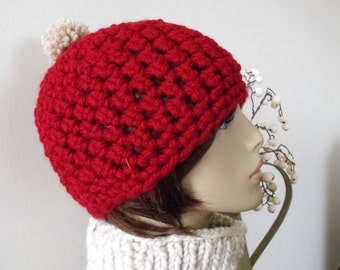 Red Beanie Hat Trendy Woman's Fashion Fun Warm Winter Fall Teenager's  Style