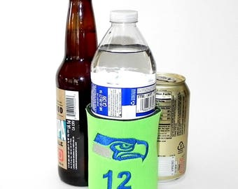 Seahawks HAWK and a 12 Embroidered in on Any ColorCustom Can and Bottle Cooler.  Choose size, font, colors.  All your choice.
