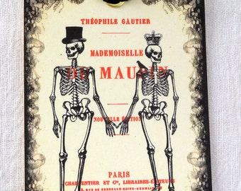 French Skeleton Couple Halloween Gift or Scrapbook Tags or Magnet #45