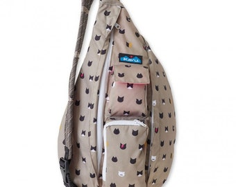 Monogrammed Kavu Rope Bags - Cattitude - Great gift for College, Teens, Women, Outdoors Satchel Crossbody Tote
