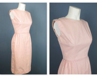 Vintage 1950s, '60s Pink Wiggle Dress, Sz XS