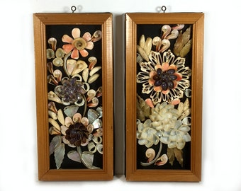 Vintage Framed Pair of Shell Art - Colorful and Creative, On Black Cloth Background