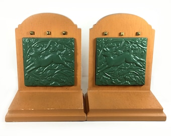 Vintage Heavy Bookends with inset Green Tiles with Leaping Deer Motif