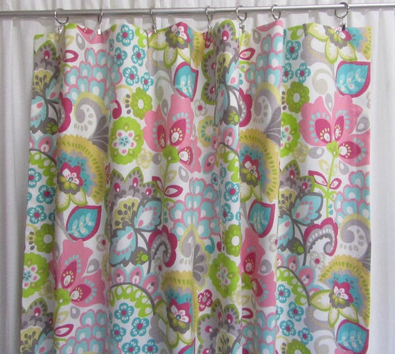 Modern Window Curtain With Flower Design: Items Similar To Pink Aqua Curtain Panels, Modern Floral