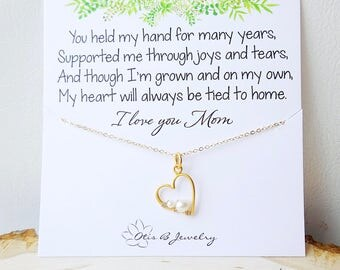 Mother of the Bride gift idea, mother & child necklace, heart, pearl necklace, message card, mother's day gift, Peas in a pod, pregnancy
