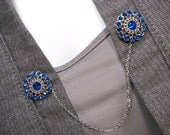 Sapphire Blue Sweater Clip Royal Blue Round Silver and Rhinestones Cardigan Jewelry Sweater Chain Clasp