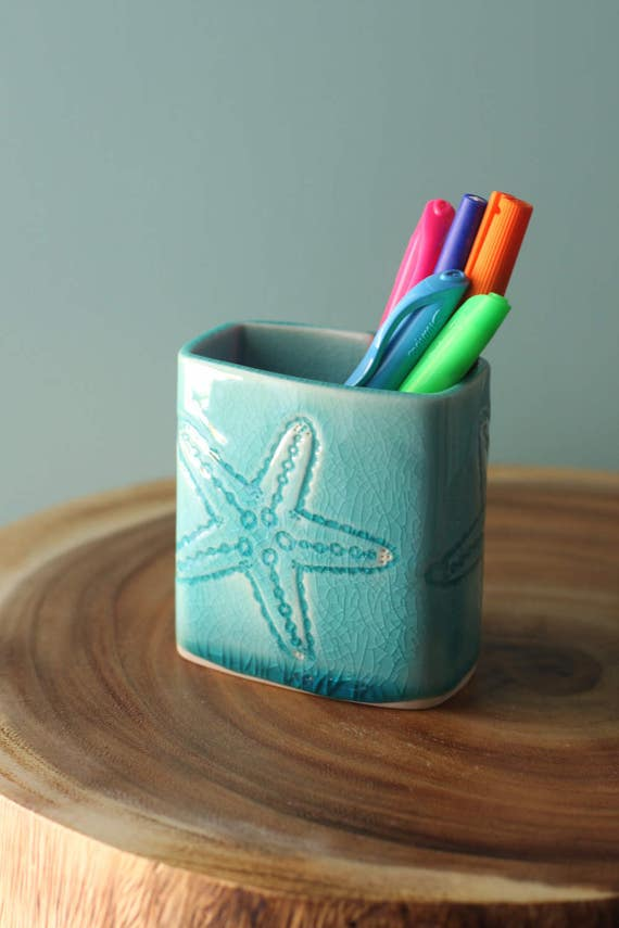 starfish porcelain pen holder