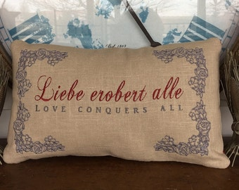 Liebe Erobert Alle Love Conquers All German French Italian 13x7 Inch Embroidered Pillow Personalize Choose Language