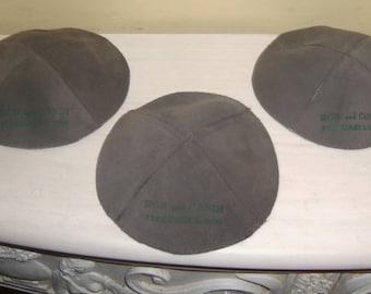 3 Leather Skull Cap Gray Swede Yarmulkah Yamaka Yarmulke Kippa Kippah Jewish Vintage For Crafting Painting