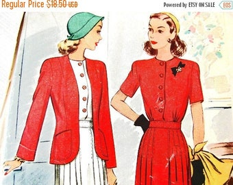 on SALE 25% OFF Vintage 1940s Dress Pattern McCalls Pattern Misses size 12 UNCUT Womens Shirtwaist Dress with Pleated Skirt and Jacket Sewin