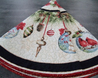 Christmas Tree Skirt Woodland Holiday Handmade Quilted Holiday Tree Skirt
