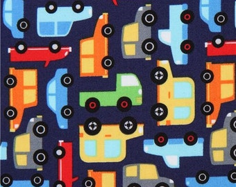 213626 navy blue Michael Miller fabric red lime green grey vehicle Tarffic Jam