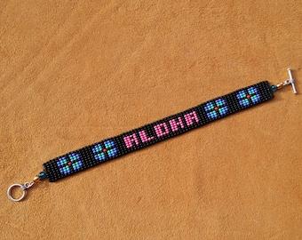 ALOHA. Loom Beaded Bracelet. Hawaii.