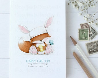 """greeting card - card - fox - bunny - easter egg - butterfly - """"Happy Together"""""""