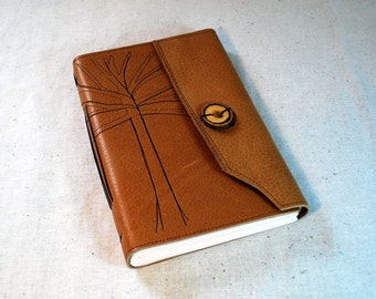 Golden Leather Tree Journal with Recycled Paper-Large