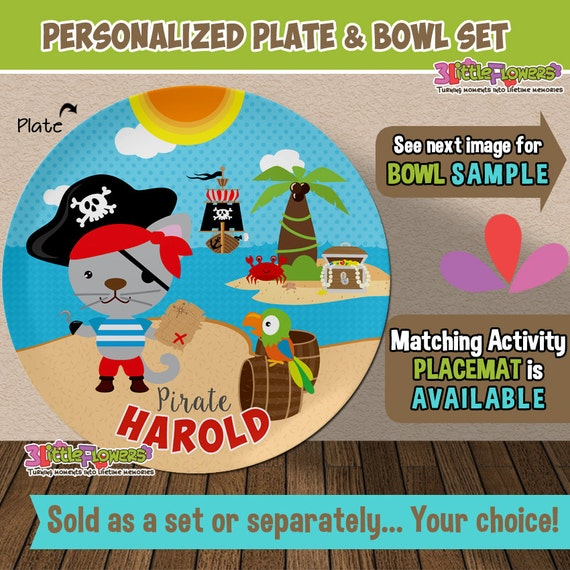 Il_570xn  sc 1 st  Catch My Party & Cat Pirate Plate and Bowl Set - Personalized Plastic Children Plate ...