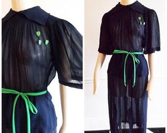 1930s blue Chiffon sheer dress / 40s peplum dress lucite green leaf buttons/30s  WWII swing dress