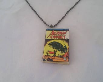 Mini Superman Comic Book Pendant