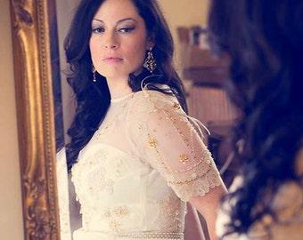 Art Deco Bridal Earrings, Pearl Chandelier Wedding Earrings, Statement Gold Earrings, Victorian Bridal Jewelry, Wedding Jewelry, CARMEN GOLD
