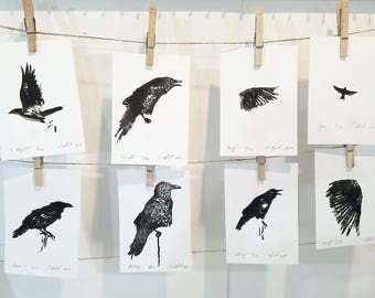 8 Crows - A SET of 8 crows, printmaking, linocut on paper, limited edition