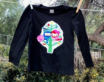 SALE! Christmas OWLS Girls Black Long Sleeved TEE Size 3T Ready-to-Ship