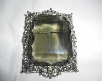 Vtg Sarah Coventry 'Celebrity' Smokey Faceted Faux Topaz /Rhinestone Pendant/brooch