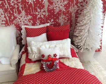 Miniature Dollhouse Wood Sleigh Bed, Farmhouse Red and White Quilt and Doll Bedding - 1:12 scale