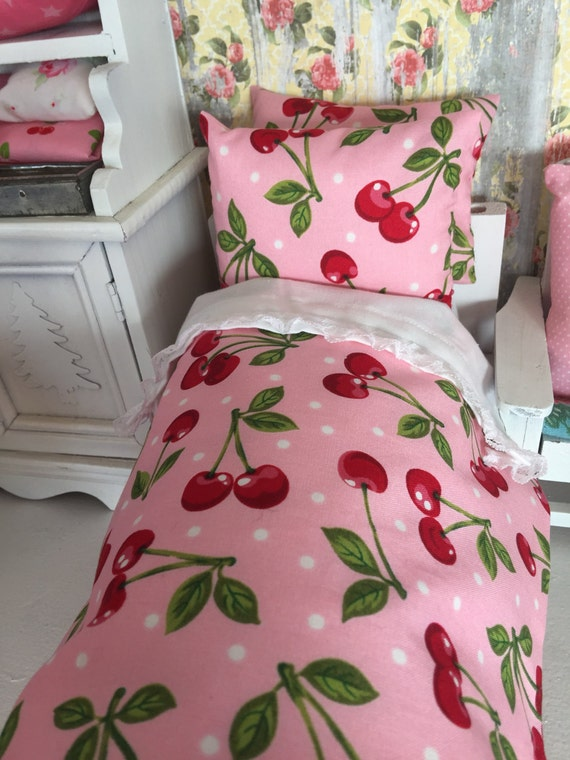 Blythe/ Barbie Cherry Fabric Doll Bedding and Mattress
