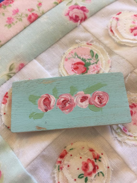 "Miniature Handpainted Shabby Roses Sign 1"" x 2"""